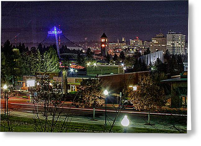 Spokane Greeting Cards - Spokane Downtown Greeting Card by Dan Quam