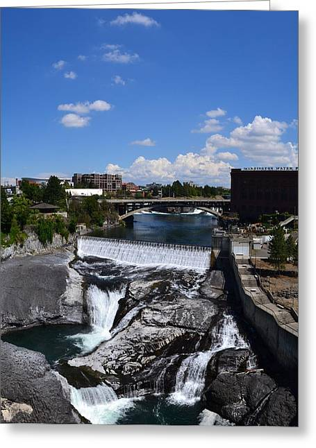 """spokane Falls"" Greeting Cards - Spokane Falls and Riverfront Greeting Card by Michelle Calkins"