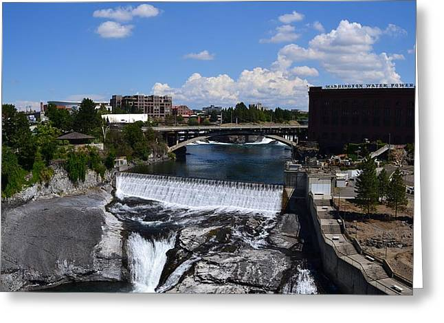 Spokane Falls and Riverfront Greeting Card by Michelle Calkins