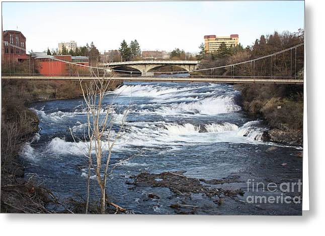Spokane Falls in Winter Greeting Card by Carol Groenen