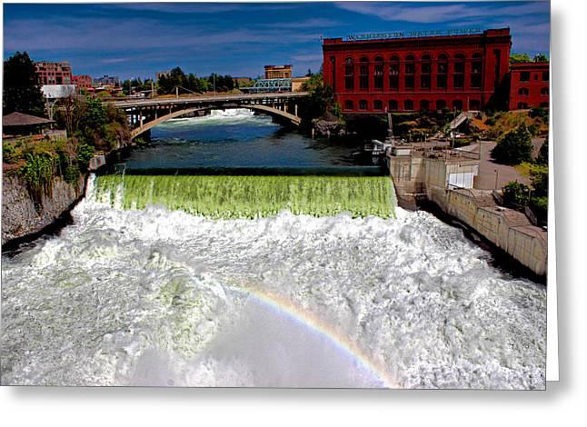 Spokane Falls Greeting Card by Rusty Jeffries