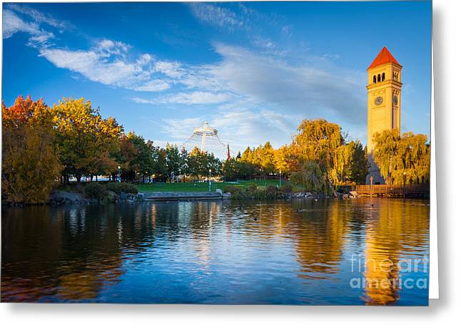 Clock Greeting Cards - Spokane Reflections Greeting Card by Inge Johnsson