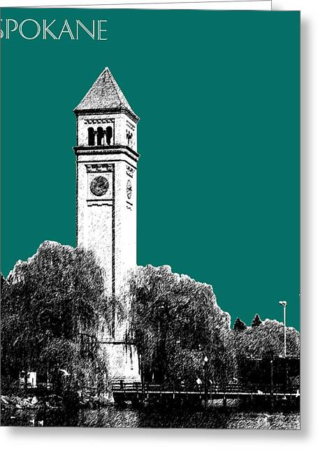 Spokane Skyline Clock Tower - Sea Green Greeting Card by DB Artist