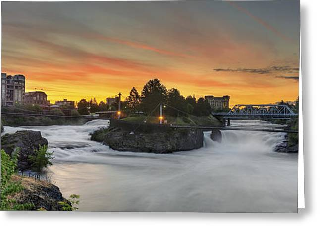 """spokane Falls"" Greeting Cards - Spokane sunrise Greeting Card by Michael Gass"