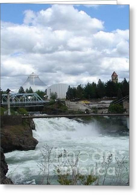 Canoe Waterfall Paintings Greeting Cards - Spokane Washington Riverfront Park Spokane Falls Greeting Card by Windy Mountain