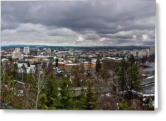Modern Photographs Greeting Cards - Spokane Washington Skyline Panorama Greeting Card by Alexandr Grichenko
