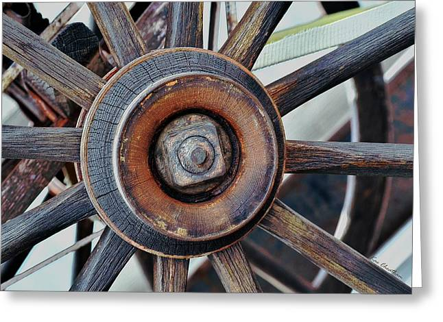 Spokes Greeting Cards - Spokes and Hub Greeting Card by Kae Cheatham