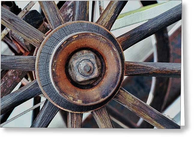 Wagon Wheels Digital Art Greeting Cards - Spokes and Hub Greeting Card by Kae Cheatham