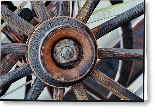 Antique Wagon Greeting Cards - Spokes and Hub Greeting Card by Kae Cheatham