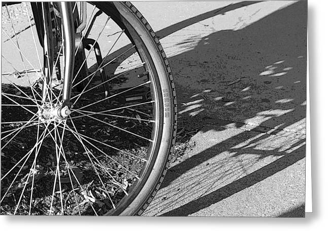 Spokes Greeting Cards - Spokes - Black and White Greeting Card by Suzanne Gaff