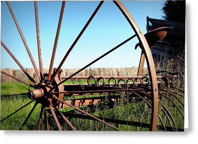 Hay Rake Greeting Cards - Spokes Greeting Card by Cricket Hackmann