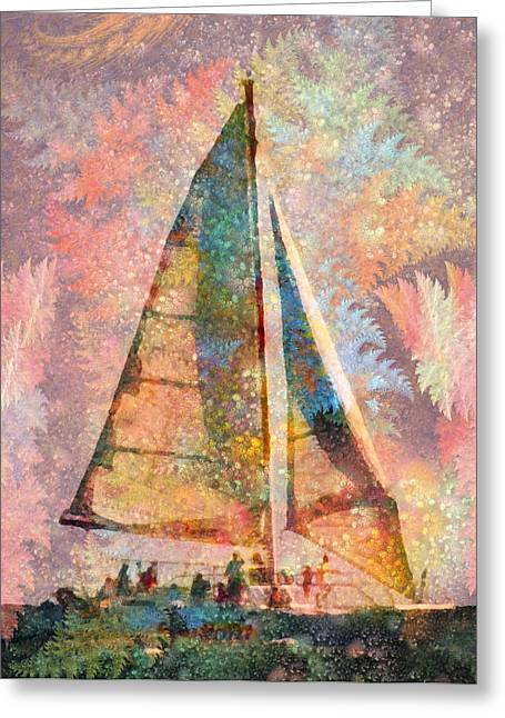 Ocean Sailing Greeting Cards - Spontaneity Paradise Nautical Visionary  Greeting Card by Betsy C  Knapp