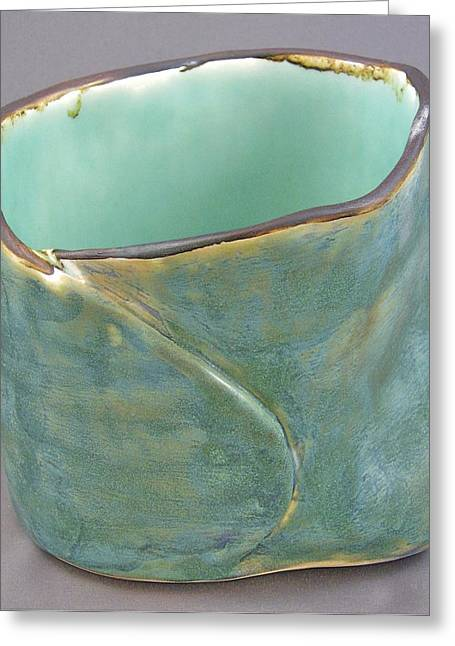 Raku Ceramics Greeting Cards - Spontaneous 07-019 Greeting Card by Mario Perron