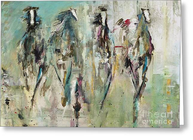 Abstract Equine Greeting Cards - Spooked Greeting Card by Frances Marino