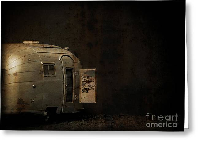 Creepy Greeting Cards - Spooky Airstream Campsite Greeting Card by Edward Fielding