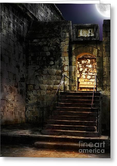 Spooky Backlit Door Way In Moon Light Greeting Card by Oleksiy Maksymenko