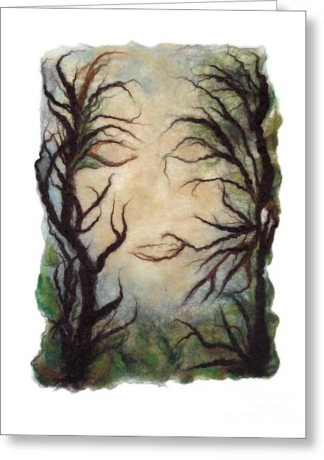 Felting Greeting Cards - Spooky Forest Greeting Card by Gina Barakov