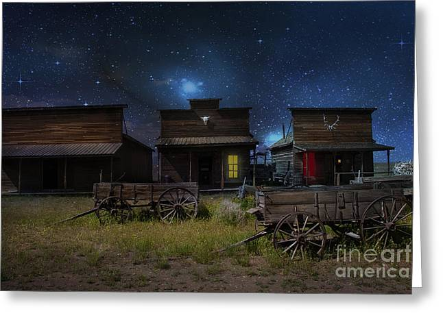 Surreal Landscape Photographs Greeting Cards - Spooky Ghost Town Greeting Card by Juli Scalzi