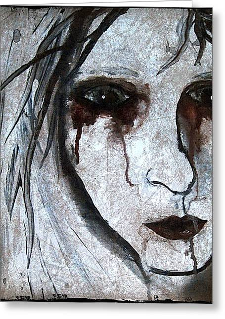 Laura Carter Greeting Cards - Spooky Gothic Zombie Portrait Painting Fine Art Print Greeting Card by Laura  Carter