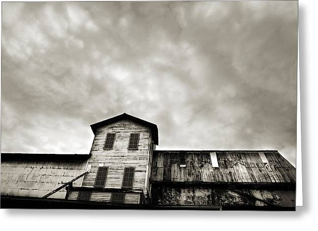 Wooden Building Greeting Cards - Spooky Grain Elevator Greeting Card by Marilyn Hunt