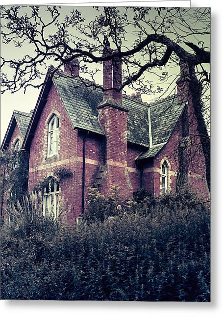 Spooky Trees Greeting Cards - Spooky House Greeting Card by Joana Kruse