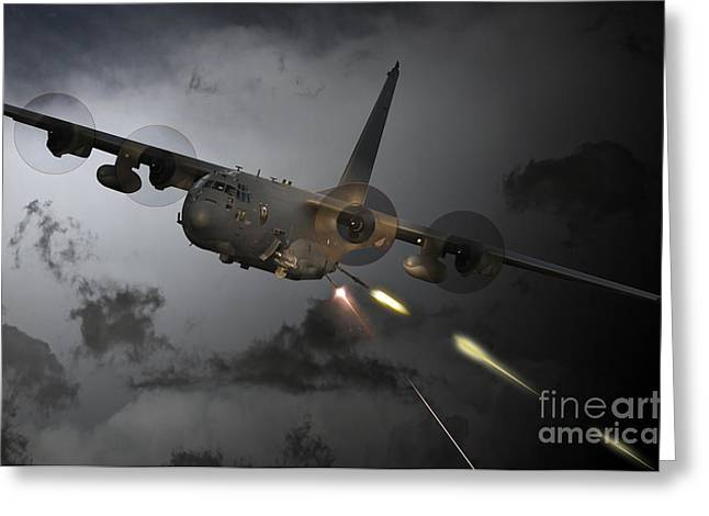 Ac130 Greeting Cards - Spooky Greeting Card by J Biggadike