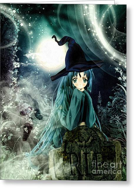Spooky Night Greeting Card by Mo T