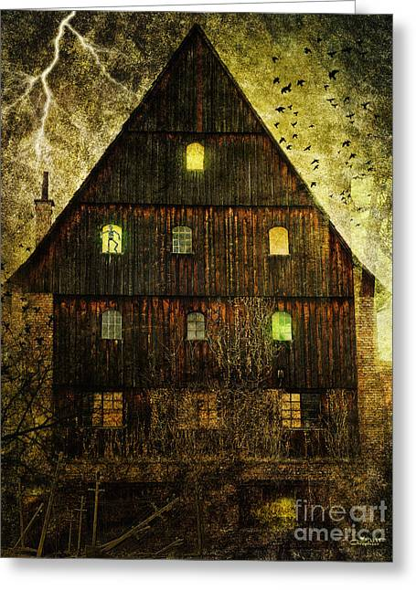 Photography Lightning Digital Art Greeting Cards - Spooky Old House Greeting Card by Jutta Maria Pusl