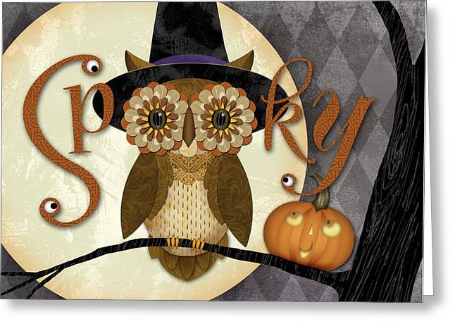 Spooky Owl Greeting Card by Valerie Drake Lesiak