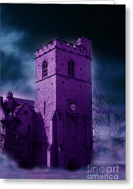 Ghostly Greeting Cards - Spooky Purple Church Greeting Card by Terri  Waters