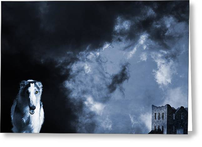 Sight Hound Greeting Cards - Spooky Wolflike Borzoi Hound And Old Castle Greeting Card by Christian Lagereek