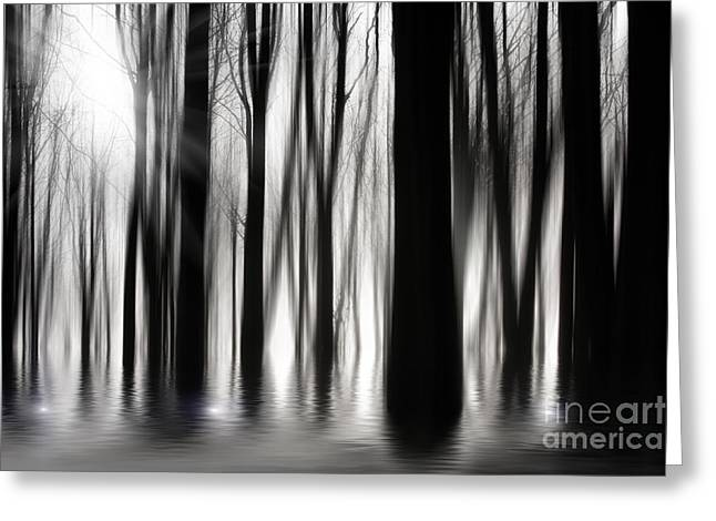 Ghostly Greeting Cards - Spooky woods Greeting Card by Simon Bratt Photography LRPS