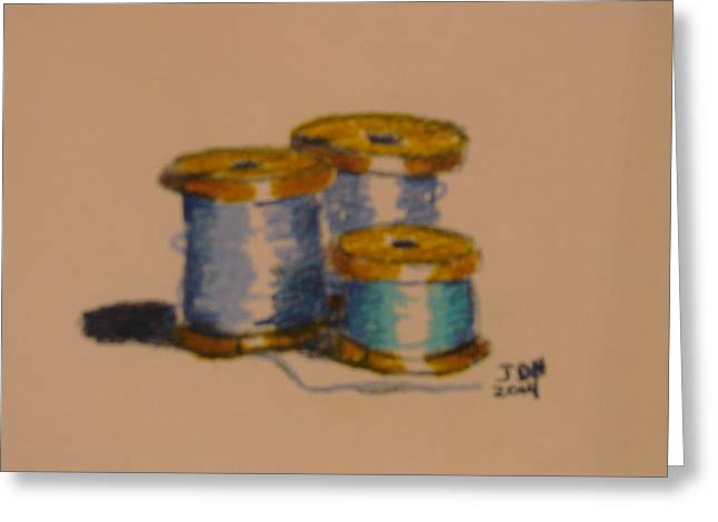 Antique Sewing Pastels Greeting Cards - Spools Of Thread Greeting Card by Joseph Hawkins