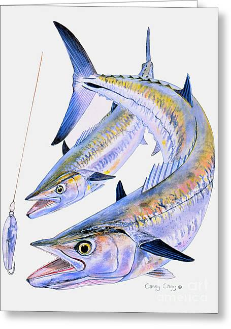 Mackerel Greeting Cards - Spoon King Greeting Card by Carey Chen