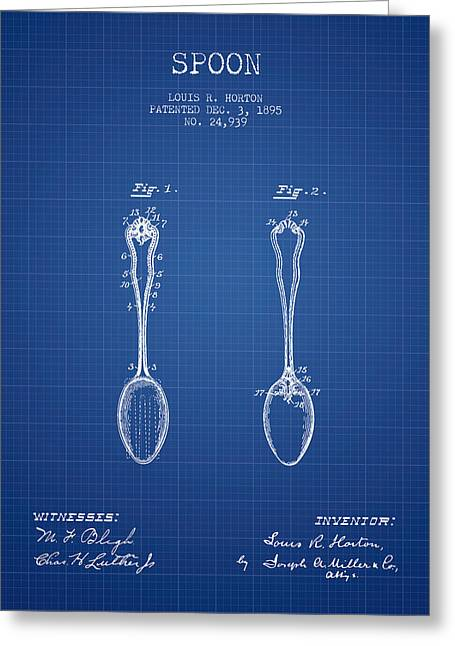 Spoon Greeting Cards - Spoon patent from 1895 - Blueprint Greeting Card by Aged Pixel