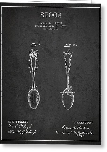 Spoon Greeting Cards - Spoon patent from 1895 - Dark Greeting Card by Aged Pixel