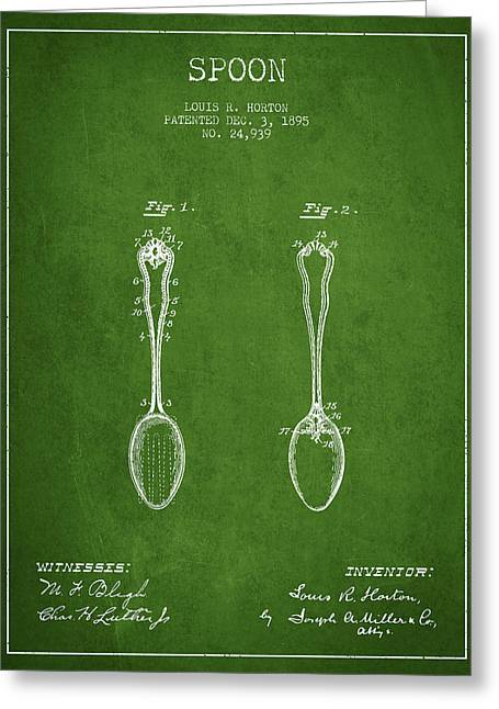 Spoon Greeting Cards - Spoon patent from 1895 - Green Greeting Card by Aged Pixel