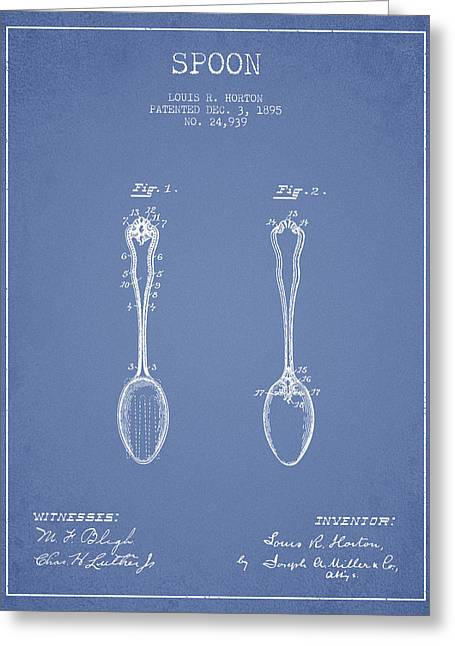Spoon Greeting Cards - Spoon patent from 1895 - Light Blue Greeting Card by Aged Pixel