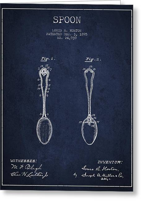 Spoon Greeting Cards - Spoon patent from 1895 - Navy Blue Greeting Card by Aged Pixel