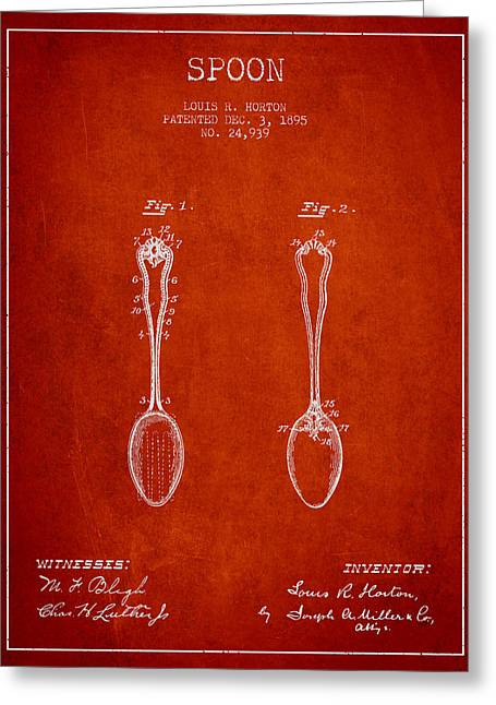 Spoon Greeting Cards - Spoon patent from 1895 - Red Greeting Card by Aged Pixel