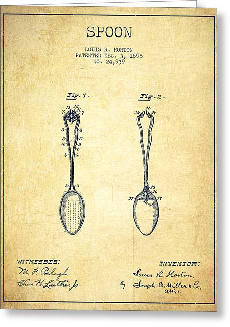 Spoons Greeting Cards - Spoon patent from 1895 - Vintage Greeting Card by Aged Pixel