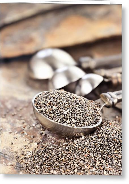 Close To People Greeting Cards - Spoonful of Chia Seeds Greeting Card by Stephanie Frey