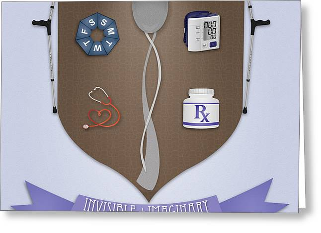 Crutch Digital Art Greeting Cards - Spoonie Coat of Arms Square Greeting Card by SarahCate Philipson
