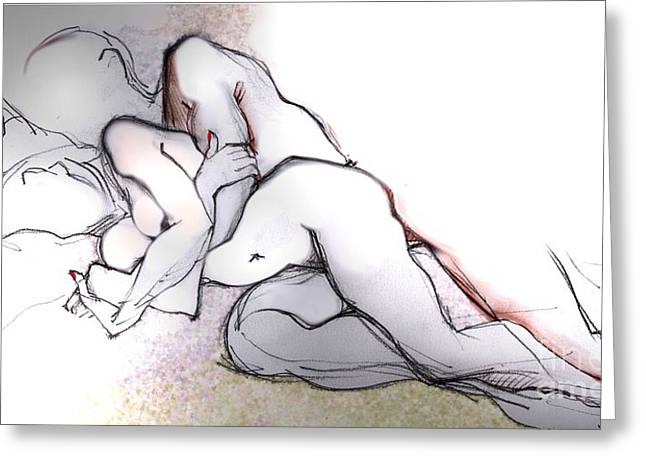 Dream Mixed Media Greeting Cards - Spooning - Couples in Love Greeting Card by Carolyn Weltman