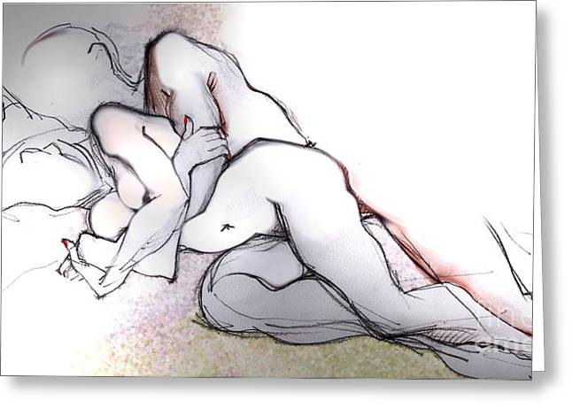 Nude Metal Greeting Cards - Spooning - Couples in Love Greeting Card by Carolyn Weltman