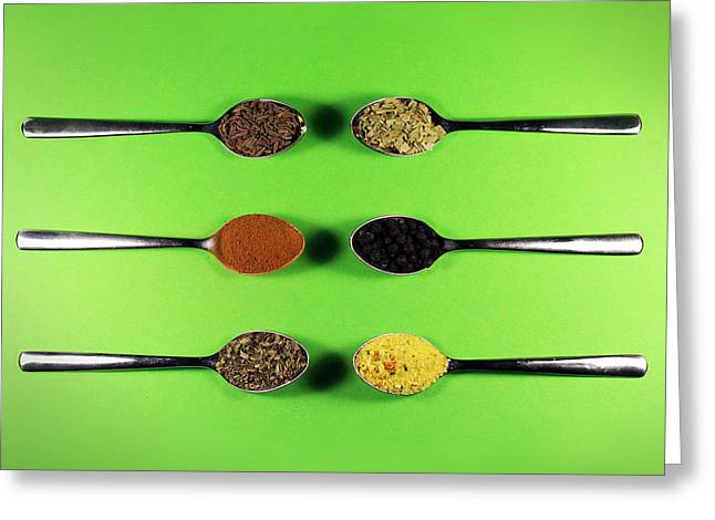 Spice Greeting Cards - Spoons And Spices Greeting Card by Vesna Viden