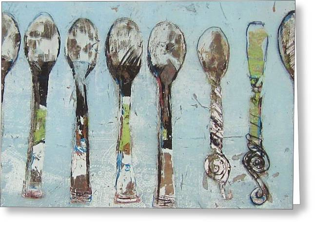 Drawing Glass Art Greeting Cards - Spoons Greeting Card by Debbie Clarke