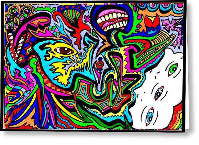 Hallucination Drawings Greeting Cards - Sporn Greeting Card by Clarisse Chellen