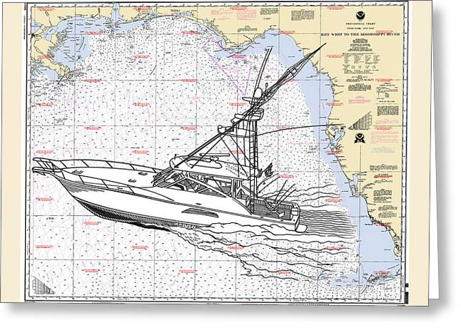 Nautical Chart Greeting Cards - Sport Fishing off the Gulf Coast Greeting Card by Jack Pumphrey