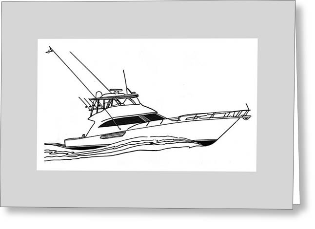 Boat Cruise Drawings Greeting Cards - Sport Fishing Yacht Greeting Card by Jack Pumphrey